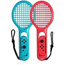 Nintendo switchテニスラケットJoy-Con用 マリオテニスなどのテニスゲームに対応Joy-Con用 2個セット 精確対応落下防止ストラップ付き 軽量ABS製 テニスゲームの臨場感ニンテンドースイッチ joy con ジョイコン コントローラー専用(ブルー&レッド)