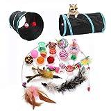 木島もくしま 猫 おもちゃ セット 猫のトンネル 20種類の猫のおもちゃ マウスのおもちゃ 麻のロープのおもちゃ 環境にやさしい素材 ボール ネズミ?ぬいぐるみ 猫じゃらし?羽のおもちゃまたたびトイ 猫おもちゃ ネズミおもちゃ