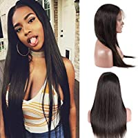 BQ HAIR 360 Lace Frontal Wig Pre Plucked-130% Density Straight Lace Front Wig- Brazilian Virgin Remy Human Hair-Natural Color (16 inch 360 wig) [並行輸入品]
