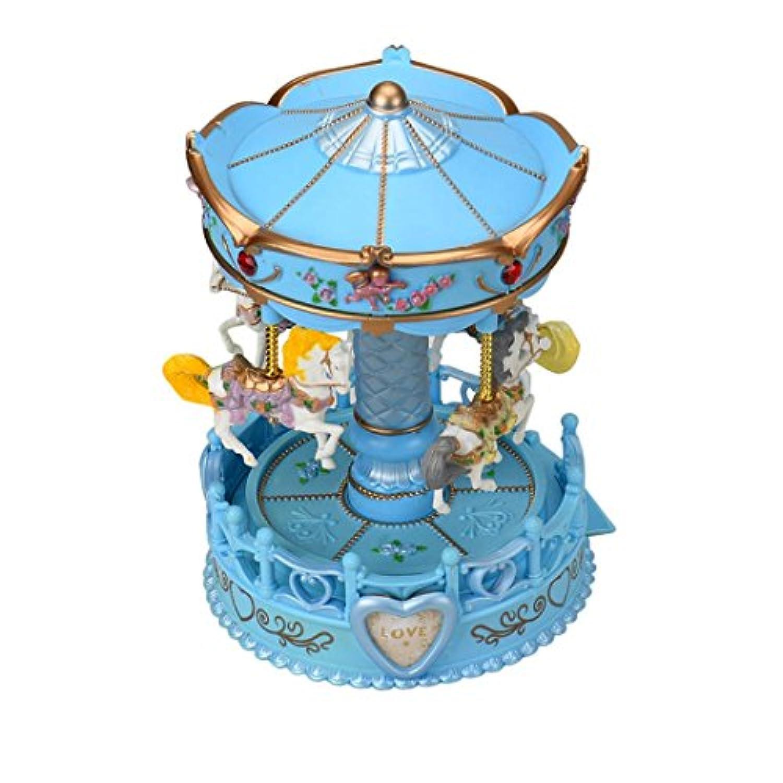 ruhiku Valentine 's DayヴィンテージHorse Carousel MusicボックスおもちゃライトClockwork Musicalギフト ブルー