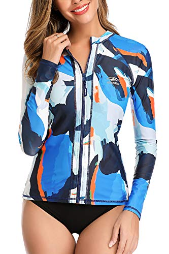 AXESEA Women Long Sleeve Rash Guard UPF 50+ UV Sun Protection Zip Front Swimsuit Shirt Printed Surfing Shirt Top - Multicoloured - US 6(Read Seller Size Chart in Image)