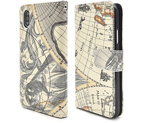 PLATA iPhone X/Xs ケース 手帳型 ワールド...