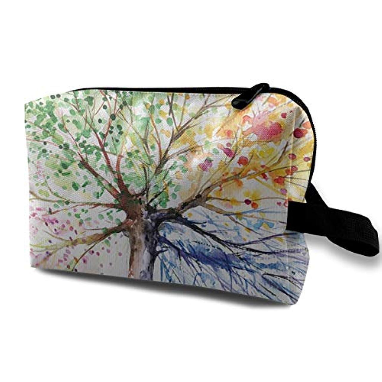 入場リンケージリスキーなArt Color Tree 収納ポーチ 化粧ポーチ 大容量 軽量 耐久性 ハンドル付持ち運び便利。入れ 自宅?出張?旅行?アウトドア撮影などに対応。メンズ レディース トラベルグッズ