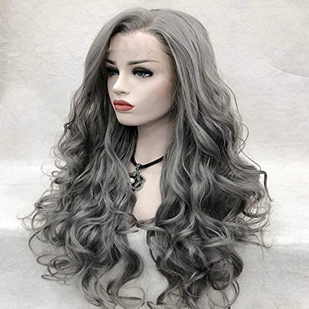風邪をひく悪性のストラトフォードオンエイボンヘアピース ファッション女性フロントレース化学繊維長い巻き毛の前髪かつら髪セットシルバーグレー天然かつら