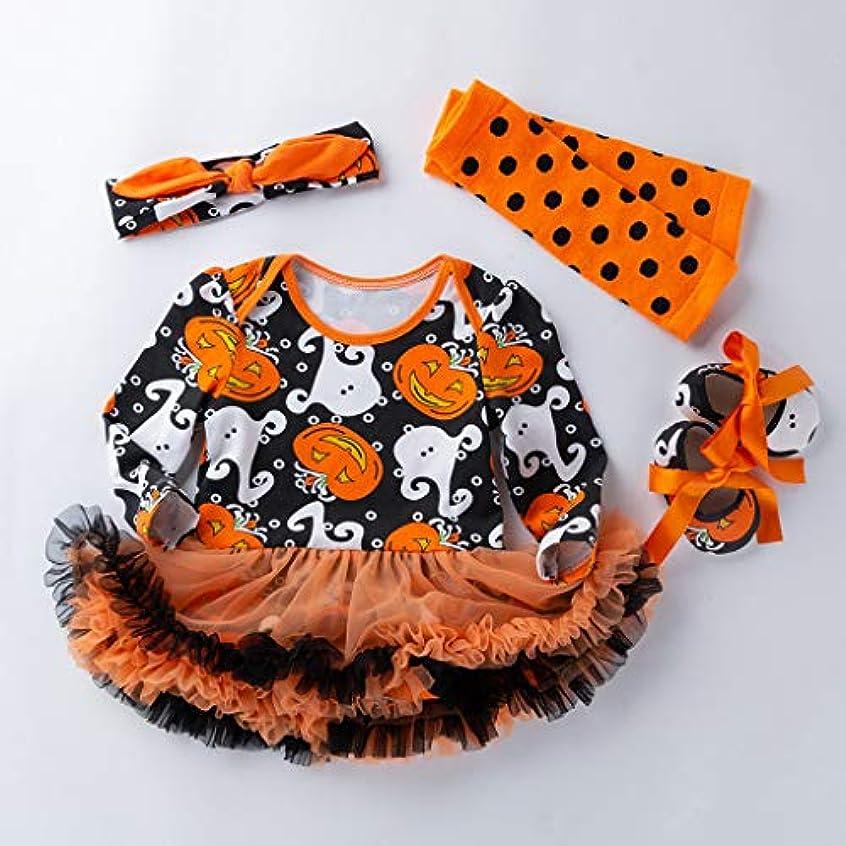 改善化学薬品マスクMISFIY ベビー服 子供 ガールズ 女の子 4セット ロンパース tutuスカート+ヘアバンド+ 靴 +靴下 綿 肌着 漫画柄 ハロウィン Halloween かぼちゃ かわいい 柔らかい 誕生記念 出産祝い