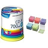 三菱化学メディア Verbatim CD-R 1回記録用 48倍速 スピンドルケース100枚パック ワイド印刷 ホワイトレーベル SR80FP100V1E + エレコム DVD CDケース プラケース スリム 1枚収納 100枚パック アソート CCD-JSCS100ASO