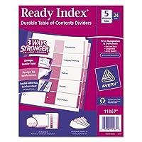 Readyインデックステーブル/内容ディバイダー、5-tab、手紙、アソートカラー、24セット/ボックス、合計48ST , Sold as 1カートン