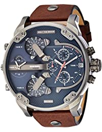 Diesel Men's DZ7314 The Daddies Series Stainless Steel Watch With Brown Leather Band【並行輸入品】