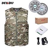 DEWBU 作業服 空調服 夏用 クーラー服 ベスト 空調風神服 熱中症対策 節電 ファン付き 迷彩柄 (XL, 迷彩)