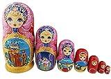 ティアラをつけるの女の子 ピンクと金色の胴体 童話の模様 マトリョーシカ マトリョーシカ人形 手業 手塗り 木製品 7個組 誕生日プレゼント 贈り物 子供のおもちゃ 飾り物 置物