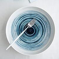 クリエイティブセラミックディッシュ食器サラダラーメンスープボウルフルーツボウル、ノーフルーツフォーク (Color : BLUE)