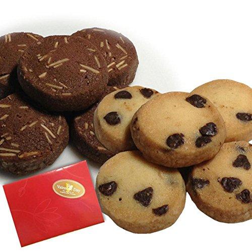 バレンタイン クッキー2種(ココア&アーモンド+チョコチップ)2袋入×12個セット