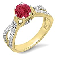 14Kゴールドラウンドルビー&ホワイトダイヤモンドレディース婚約ブライダル分割シャンクリング