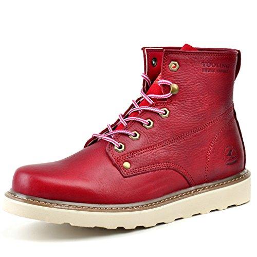 [QIFENGDIANZI]ハイカットシューズ メンズ おしゃれ レトロ 革靴 マーティンブーツ 旅行 アウトドア エンジニア ワークブーツ レッド 24.5cm