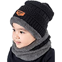 T-wilker 2 Pcs Kids Winter Knitted Hats + Scarf Set Soft Stretch Cable Warm Fleece lining Cap for 5-14 Year Old Boys Girls (Black)