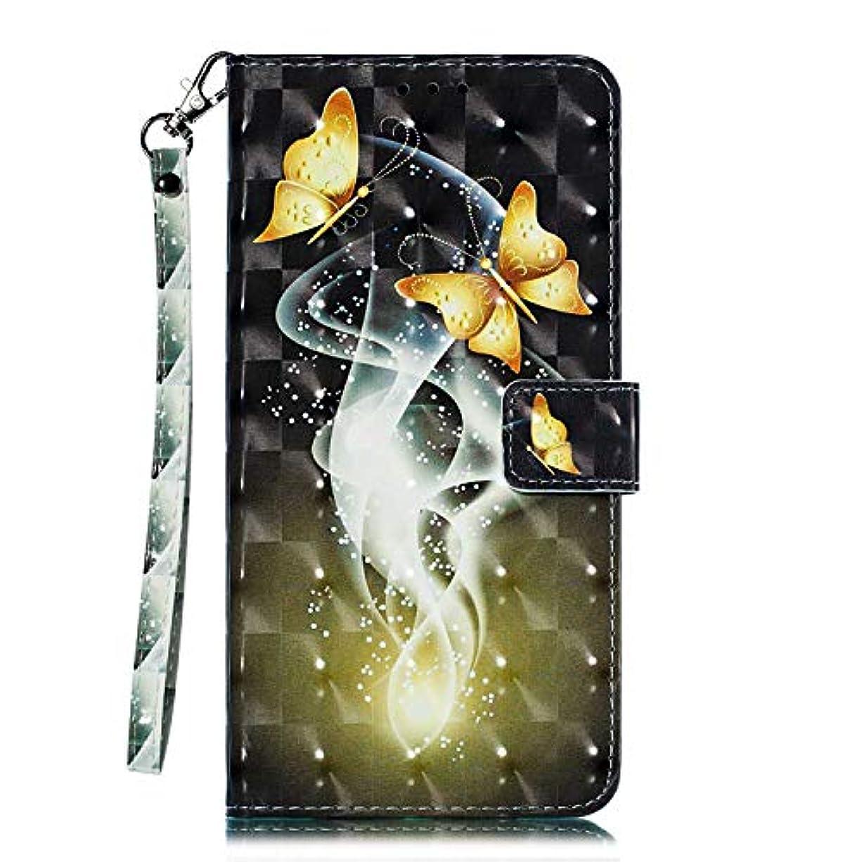 破滅人差し指徒歩でOMATENTI Galaxy A10 ケース, トレンディでクール 人気 新製品 薄型 PU レザー 財布型 ケース, 3Dカラーパターン おしゃれ 手帳カバー き スタンド機能 マグネット開閉式 カード収納付 Galaxy A10 用 Case Cover, バタフライ