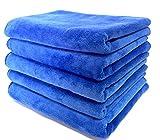 [J&M tools] マイクロファイバー タオル 吸水 ふわふわ クロス 洗車 の 拭き上げ や お風呂 美容院 など 業務用 にも (b. 40cmx60cm/ブルー 5枚)