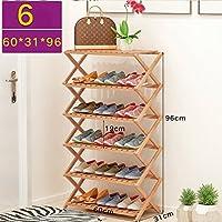 靴ラックナチュラル竹木製シンプル折りたたみ靴収納オーガナイザーホルダーマルチレイヤー多機能収納棚 (サイズ さいず : 60 * 31 * 96cm)