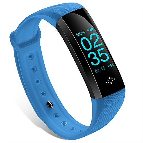 M-Teco スマートブレスレット スマートウォッチ 活動量計 心拍計 血圧測定 着信電話通知 SMS通知 消費カロリー 睡眠検測 IP67防塵防水 (ブルー)