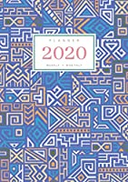 Planner 2020 Weekly Monthly: A5 Full Year Notebook Organizer Small | 12 Months - Jan to Dec 2020 | Creative Tribal Geometric Design Blue