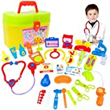 Start_wuvi 30pcs Kids Doctor Role Play Simulation Medicine Cabinet Set Education Toy Training Kids know more about doctor and some medical knowledge Early Learning Educational Toy