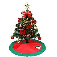 Tumao クリスマスツリー 45cm ツリースカート オーナメント 25点セット 飾り付きミニ ツリー 卓上 クリスマスツリースカート サンタクロース 足元 クリスマス飾り 置物 おしゃれ プレゼント インテリア クリスマスグッズ デコレーションツリー セット クリスマス パーティー に最適 (ツリースカート付く)