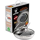 Cook King Tri Ply Stainless Steel Honeycomb Non Stick Frying Pan with Glass Lid (9.5 Inch - 24 cm)