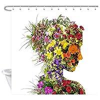 浴室のための花のシャワーカーテン、花のシャワーカーテンの花束を持つ若い女性、生地のシャワーカーテンの浴室の付属品12PCSのホック、 200X180 CM