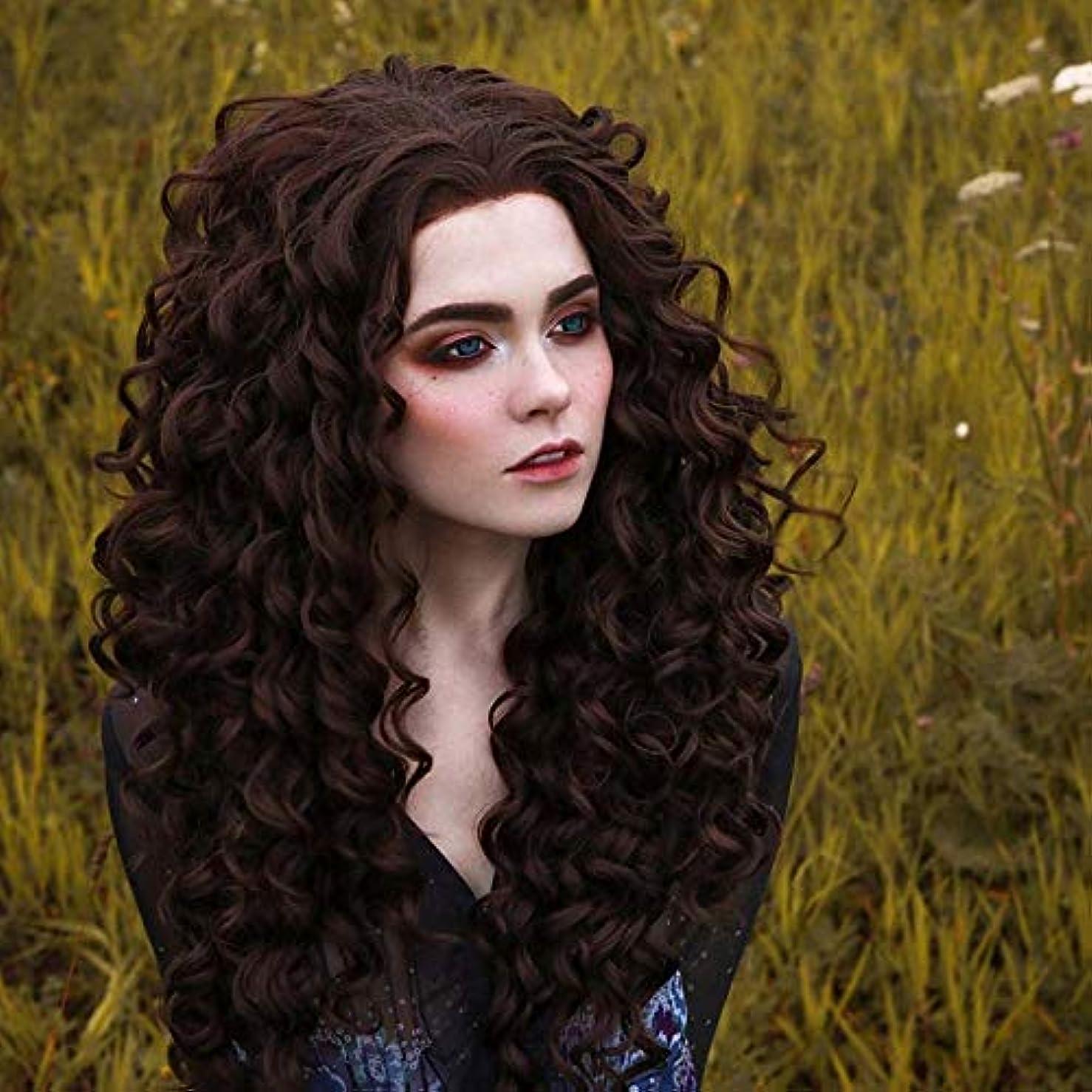 真夜中甥バレルZXF さんヨーロッパアフリカフロントレース茶色の小さな小さな波化学繊維前髪高温シルクヘッドふわふわ モデルの女性のかつらは染色することができます 美しい (Size : 26