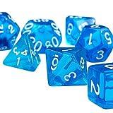 ノーブランド品  14枚 多面サイコロ 4 6 8 10 12 20面 ダイス D&D RPGゲーム用 ブルー