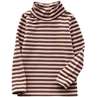 JWWN Little Boys Girls Turtleneck Thermal Tops Long Sleeve Striped Tee Winter Baselayer Warm Undershirt,12Months-7Years