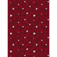 marimekko生地 SPALJE レッド×プラム×ホワイト  1巾140cm×50cmのカット販売