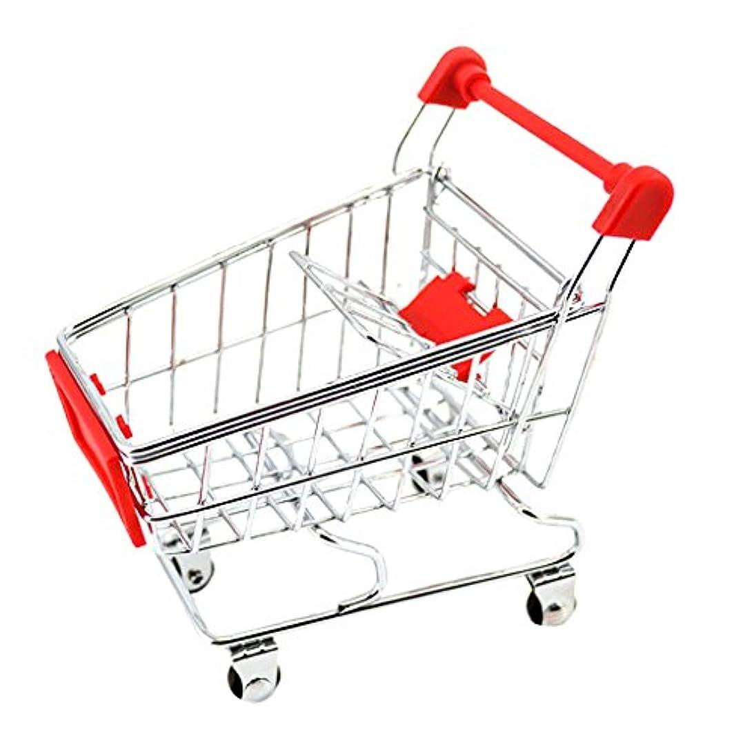 感謝会う粘着性ミニ ショッピングカート お買い物カート トロリー おもちゃ ままごと 約12×8.5× 11cm 全9色 - レッド