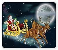 クリスマスマウスパッドby、サンタクロースとそりでトナカイとダークマジックスターライトナイトムーンファンタジー、スタンダードサイズ長方形滑り止めラバーマウスパッド、多色