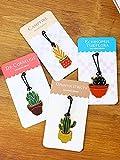 【4枚セット】多肉植物シリーズ(サボテン・火祭・青星美人・仙人球) 銅製ブックマーク succulent plant bookmark