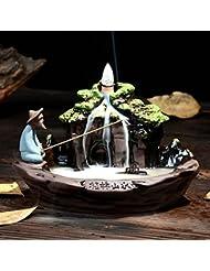 セラミックお香ホルダー逆流香炉香炉with 10個入りサンダルウッドお香