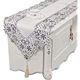 家族の夕食や集まり、パーティーや日常の使用のためのテーブルランナー、刺繍と透かし彫りのテーブルランナー (色 : 白, サイズ さいず : 40×195cm)