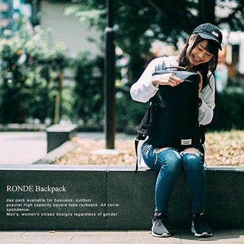 RONDE スクエアリュック リュックサック バックパック メンズ レディース 通学 通勤 ipad PC収納 ブラック