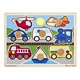 Melissa and Doug MD8980 Vehicles Jumbo Knob Puzzle (8 Pieces),8980