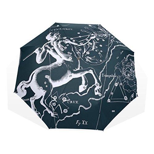 HMWR(ヒマワリ) おしゃれ 神話 星座柄 宇宙柄 星空 ケンタウルス座 雑貨 レディース メンズ 子供用 三つ折り傘 折りたたみ傘 頑丈な8本骨 耐強風 軽量 撥水性 大きい 手動開閉 雨傘 日傘 晴雨兼用 収納ケース付 携帯用 かさ