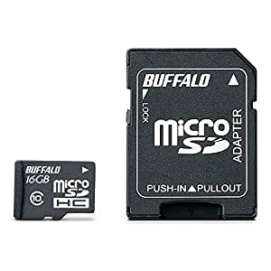 BUFFALO Class10 microSDHCカード SD変換アダプター 16GB RMSD-16GC10AB