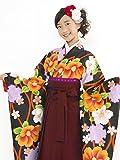 2017年 卒業式 袴セット 小学生 女の子の着物と袴のセット 合繊「黒地、よろけ縞に花」JFK16-10ysr