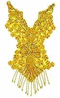 スパンコールモチーフ ワッペン ゴールド 39cm バトン 新体操 衣装 ダンス フィギア