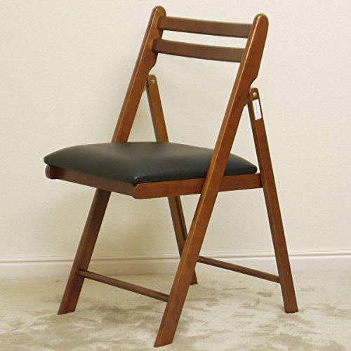 RoomClip商品情報 - 木製 折りたたみチェアー(ダークブラウン色、座面はブラック色でレザー調)