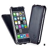 【MANNA マンナ】薄型 iPhone6 Plus 5.5 インチ 用 ケース フリップケース レザー カバー 本革、ブラックwithカラーステッチ アイフォン6 プラス