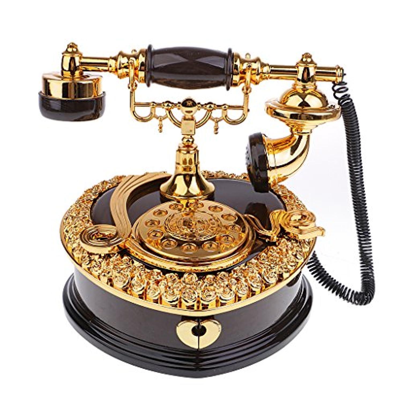 Perfk ヴィンテージ 電話模型 オルゴール ジュエリーケース 装飾品 高級感 誕生日 結婚祝い 素敵な 贈り物