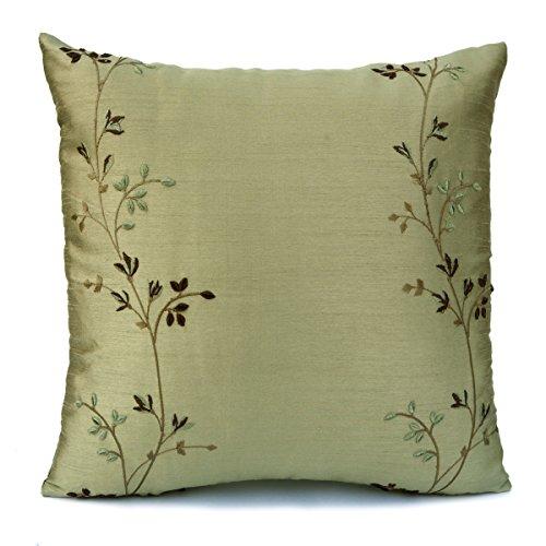 ライムグリーンシルク装飾スロー枕カバー、刺繍、現代枕、アクセント枕、トス枕、枕シャム、クッションカバー、ホームDecor。