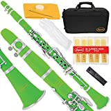Lazarro 150-GR-L B-Flat Bb Clarinet Green-Silver Keys with Case 11 Reeds Care Kit and Many Extras [並行輸入品]