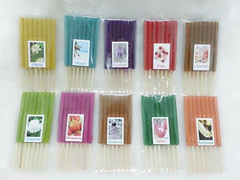 大統領発行するジョージバーナードセット9 Mixアロマ10 Scents 80 Sticks Mini Incense Sticks Thai Spaアロマセラピーホームのハーブ&香料、長さ3インチ