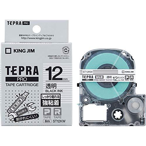 キングジム テープカートリッジ テプラPRO 強粘着 12mm ST12KW 透明